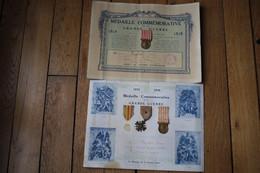 2 Diplomes Et Médailles De Poilus  1914 1918 - 1914-18