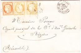 Ceres N°38 Et 55 Etoile 1 Paris 23 Juin 1874 Pour Beziers Herault - 1849-1876: Klassik