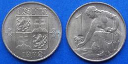 CZECHOSLOVAKIA - 1 Koruna 1992 KM# 151 Federal Republic - Edelweiss Coins - Tschechoslowakei