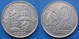 CZECHOSLOVAKIA - 2 Koruny 1991 KM# 148 Federal Republic - Edelweiss Coins - Tschechoslowakei