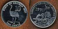 Eritrea 10 Cents 1997, Ostrich Bird, KM#45, Unc - Eritrea