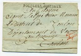 78 PORT DE LA MONTAGNE + Franchise Agence Des Poudres Et Salpetres / Non Révolutionnaire TOULON / 1794-95 - 1701-1800: Precursors XVIII