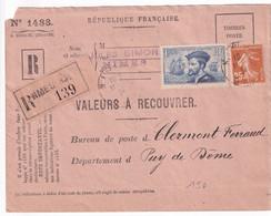 SEMEUSE + CARTIER - 1934 - ENVELOPPE VALEURS à RECOUVRER (COMPLETE !) RECOMMANDEE De NIMES (GARD) => PUY DE DOME (DOS !) - 1921-1960: Periodo Moderno