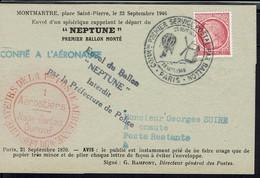 Fr - Affr. Cérès De Mazelin 1 F Sur Doc - Cachet Commémoratif 1er Service Postal Par Ballon Paris 23 Sept. 1946 - TB - - Gedenkstempel