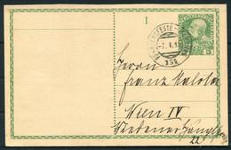 1910 Austria Stationery Postcard - Wien. Franzensfeste - Marburg Railway TPO Bahn Train - Covers & Documents
