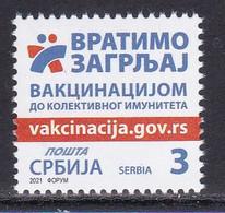 Serbia 2021 Vaccination Against Corona Health Disease Medicine Covid 19 Stamp MNH - Disease