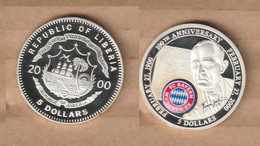 LIBERIA  5 Dollar 2000   Niquel  - FC Bayern Munich- - Liberia