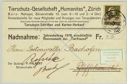 Schweiz 1918, Tell Brustbild, Nicht Eingelöste Nachnahme Zürich - Pfäffikon, Bien-être Des Animaux, Animal Welfare - Covers & Documents