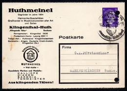 F0244 - Klingenthal Huthmeinel Harmonika Musikinstrumente - Nach Markneukirchen Sonderstempel - Storia Postale
