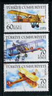 Turkey 2007 - Mi. 3561-63 O, Airplanes | Double Decker Breguet XIV B-2, Albatros C-XV, Fiat R2 |  Air Forces | Aircraft - Used Stamps