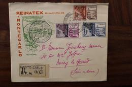 1952 Principauté De Monaco Monte Carlo Reinatex Cover Reco Registered - Covers & Documents