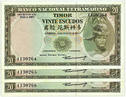 TIMOR - 3 X 20 ESCUDOS - 24.10.1967 - P 26 - Unc. - Sign. 7 - 7 Digits - REGULO D. ALEIXO - PORTUGAL - Timor