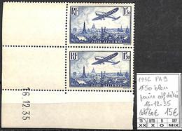 NB - [847440]TB//**/Mnh-c:60e-France 1936 - PA9, 1f50 Bleu, Paire Cdf Datée, 16.12.35, Avions - 1927-1959 Neufs