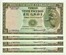 TIMOR - 4 X 20 ESCUDOS - 24.10.1967 - P 26 - Unc. - Sign. 7 - 7 Digits - REGULO D. ALEIXO - PORTUGAL - Timor