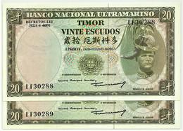 TIMOR - 2 X 20 ESCUDOS - 24.10.1967 - P 26 - Unc. - Sign. 7 - 7 Digits - REGULO D. ALEIXO - PORTUGAL - Timor