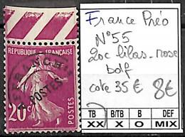 NB - [848000]TB//**/Mnh-c:35e-France 1931 - N° 55, Préo, 20c Lilas-rose, Bdf - 1893-1947