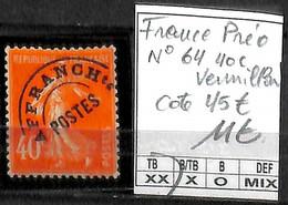 NB - [848020]TB//**/Mnh-c:45e-France 1937 - N° 64, Préo, 40c Vermillon - 1893-1947