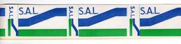 Document Interne La Poste Etiquette Autocollante SAL Pour Les Colis Postaux Voie De Surface. Bande De 8 étiquettes - Documents Of Postal Services