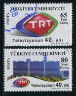 Turkey 2008 - Mi. 3642-43 O, 40th Anniv. Of TRT Television | TRT Emblem & Broadcast Center - Used Stamps