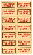 Document Interne La Poste Etiquette Envoi Médical URGENT. Planche Complète De 14 étiquettes - Documents Of Postal Services