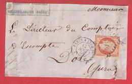 N°16 AMBULANT DE JOUR PARIS A LYON LOSANGE PL1° DOLE JURA DEVANT DE LETTRE FRONT COVER - Railway Post