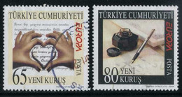 Turkey 2008 - Mi. 3663-64 O, Europa (C.E.P.T.) - Letter Writting | Hands Forming Heart, Letter | Ink, Fountain Pen - Used Stamps