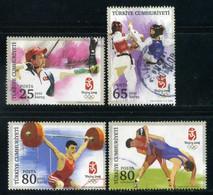 Turkey 2008 - Mi. 3685-88 O, Summer Olympic Games 2008 - Beijing | Archery, Taekwondo, Wrestle, Weightlifting - Used Stamps
