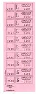 Document Interne La Poste Bande De Vignettes De Recommandés En Franchise Rose 510 Bis LIMOGES PREFECTURE - Documentos Del Correo