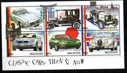 Malediven 2823-2828 KB,2829-2834 KB,Block 383 Mnh ** Auto Car Voiture Porsche Mercedes Phaeton Rolls Royce Silverghost - Maldives (1965-...)