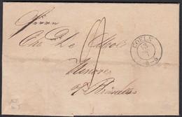 Preussen 1839 COELN-DEBOURSES NINOVE-BRUXELLES BELGIEN RAR  (24512 - Prusse