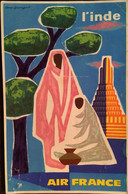 CPm - POST CARD, (Publicité) AIR FRANCE L'INDE (India), Illustrateur, Signée Guy Georget, De 1989, Transport Aérien - Other