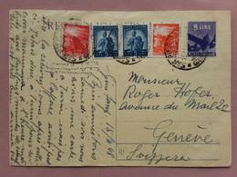 REPUBBLICA - Cartolina Postale Spedita In Svizzera - Affrancatura Aggiunta + Spese Postali - 1946-60: Marcofilie