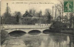 LOUVIERS  Vue Prise Sur L'Eure Et Rue De La Gare RV - Louviers