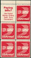 UNITED STATES OF AMERICA 1973 AIR MAILS, 13c WINGED ENVELOPE BOOKLET PANE OF 5 PLUS LABEL** (MNH) - 3b. 1961-... Unused