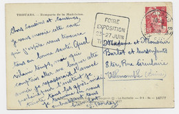 GANDON 6FR N°721A CARTE THOUARS 22.6.1948 DEUX SEVRES + DAGUIN CARRE ISOLE FOIRE EXPOSITION 23.27 JUIN THOUARS RARE - Mechanical Postmarks (Advertisement)