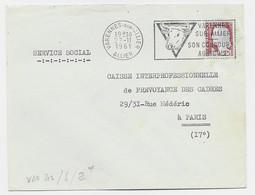 N° 1263 LETTRE SECAP ILLUSTRATION TETE DE VACHE VARENNES SUR ALLIER 27.11.1961 - Mechanical Postmarks (Advertisement)