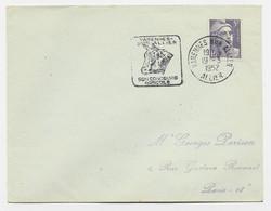 GANDON 5FR VIOLET LETTRE DAGUIN  ILLUSTRATION TETE DE VACHE VARENNES SUR ALLIER  19.3.1952 ALLIER - Mechanical Postmarks (Advertisement)