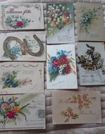 3688 - Lot De 9 Cartes Postales Fête Voeux Bonne Année Fleurs Myosatis Muguet Paques Chance Fer ....toutes Scannées  ... - 5 - 99 Postcards