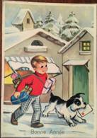 Cpm De 1966, éd JLP Charme 633/1, Bonne Année, Enfant Et Cadeaux, Chien Avec Pli Dans Sa Gueule, Village Enneigé, écrite - Anno Nuovo