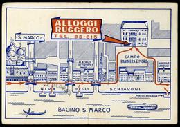 Venezia Alloggi Ruggero Campo Bandiera Moro Carte Pliée Carta Piegata - Venezia (Venice)