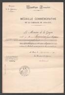 1912 MEDAILLE COMMEMORATIVE DE LA CAMPAGNE DE 1870 1871 Z21 - Documents