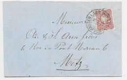 GERMANY 10 PFENNING LETTRE COVER CACHET FER A CHEVAL MULHAUSEN ELS 1875 POUR METZ CACHET BLEU EN ARRIVEE - Alsazia-Lorena