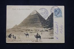 PORT SAÏD - Affranchissement Blanc Sur Cp ( Pyramides ) En 1905 Pour Saigon Avec Taxe De Saigon Au Verso -  L 96120 - Brieven En Documenten
