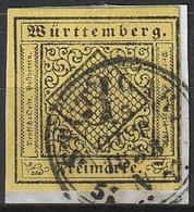 Wurtemberg Old Germanie 1851 N° 2 Impression Noire Sur Papier Couleur (H2) - Wuerttemberg