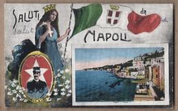 CPA ITALIE - NAPOLI - NAPLES - Saluti Da Napoli - TB CP Multivue Militaire En Médaillon + Posillipo + Drapeau Italien - Napoli (Napels)