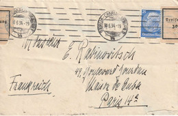 25 Pf  BERLIN Charlotteburg Pour Paris. Censure Zollamtlich Geoffnet; Contrôle Des Devises. 2 VII 1934 - Covers & Documents