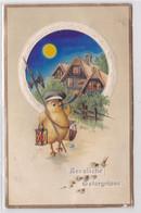 96777 Geprägte Ak Herzliche Ostergrüsse: Küken Als Nachtwächter 1916 - Pasen