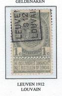 Préo Roulette 1912   -   COB 53 -  (1c. Gris LEUVEN  1912  LOUVAIN) - Roller Precancels 1910-19