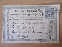 France - Timbre Sage 15c Sur Précurseur Vers Le Mesnil St Firmin - Oblitéré CàD ??? 1877 + Cachet OR Origine Rurale - 1877-1920: Semi-Moderne