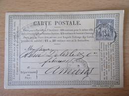 France - Timbre Sage 15c Sur Précurseur Vers Amiens - Oblitéré Convoyeur Ambulant Quimper à Rennes 1877 - 1877-1920: Semi Modern Period